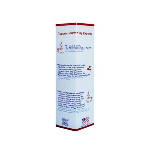 Aeropress instant coffee maker side packaging view